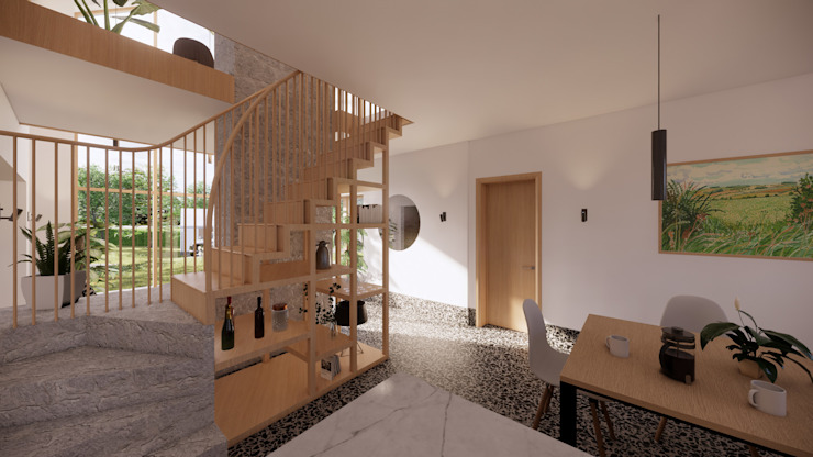 Dining Space & Feature Staircase - East Yorkshire Passivhaus by Samuel Kendall Associates Limited Сучасний Мармур