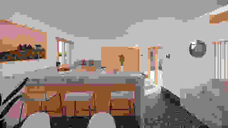 Kitchen Space with breakfast bar - East Yorkshire Passivhaus by Samuel Kendall Associates Limited Сучасний