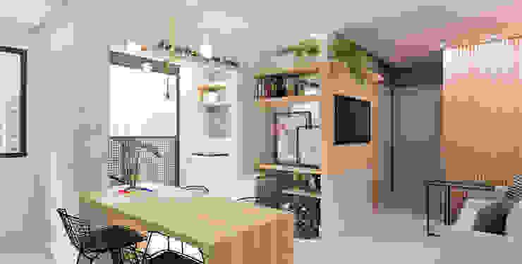 Arquiteto Virtual - Projetos On lIne Salas de estilo moderno Concreto Acabado en madera