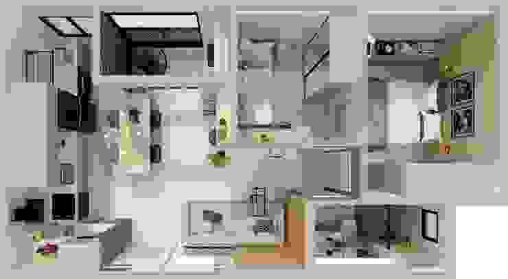 Arquiteto Virtual - Projetos On lIne Salas de estilo moderno Mármol Acabado en madera