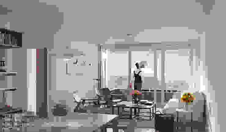 LLACAY arquitectos Minimalist living room White