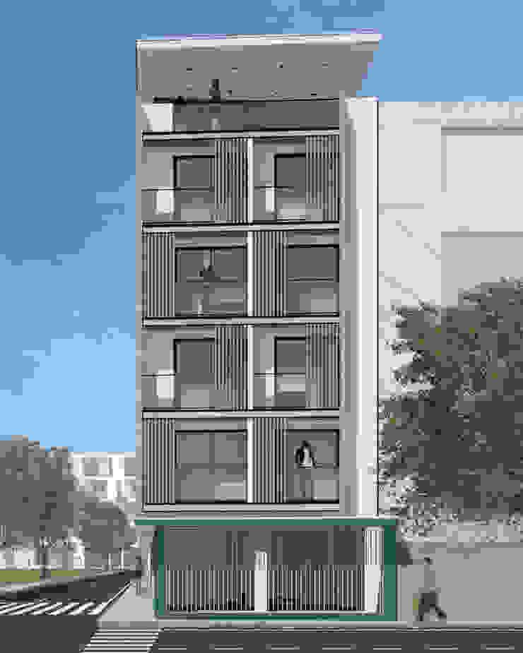 Fachada Principal - Diurna Anexos de estilo moderno de Espacio5 arquitectos Moderno Concreto