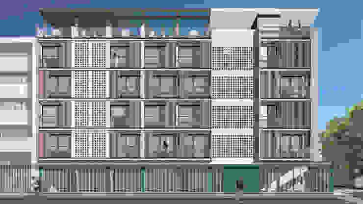 Fachada Lateral - Diurna Anexos de estilo moderno de Espacio5 arquitectos Moderno Concreto