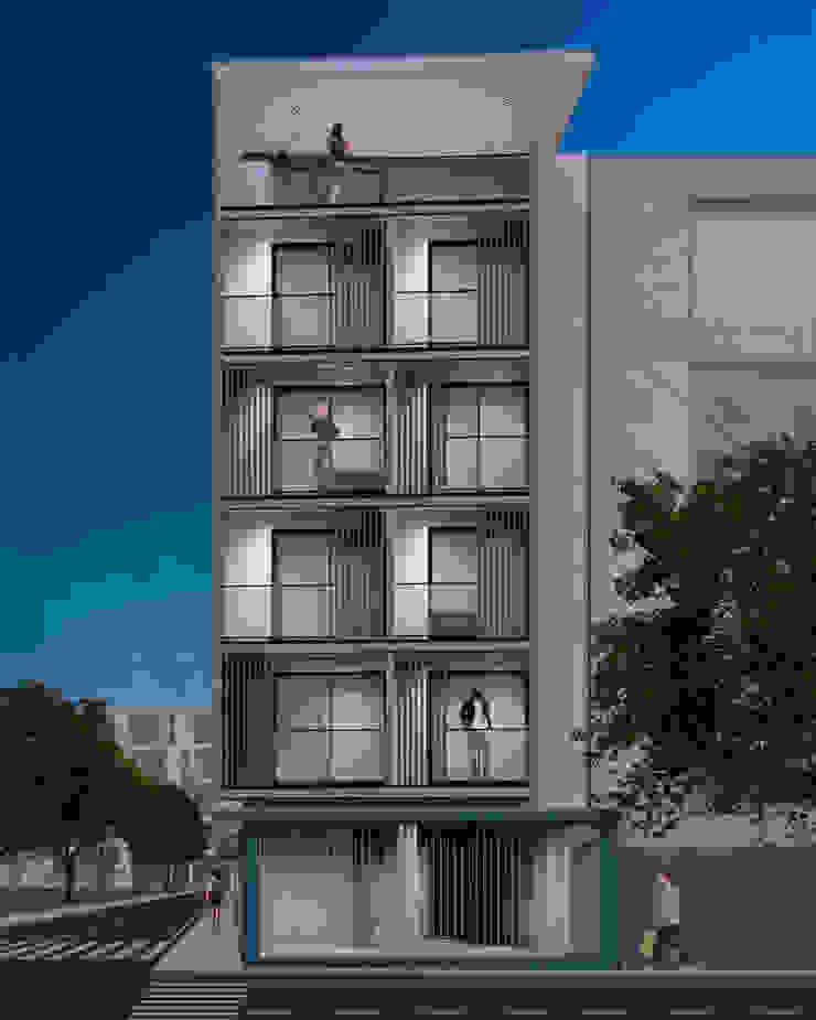 Fachada Principal - Nocturna Anexos de estilo moderno de Espacio5 arquitectos Moderno Concreto