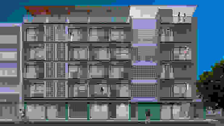 Fachada Lateral - Nocturna Anexos de estilo moderno de Espacio5 arquitectos Moderno Concreto