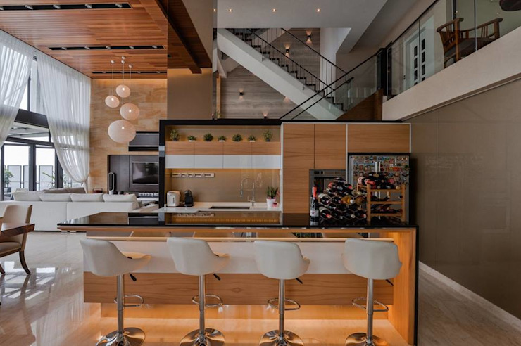 Residential Interior DMZ Consultancy Sdn Bhd Built-in kitchens Wood Wood effect
