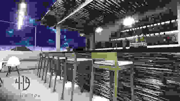 Diseño Arquitectónico - Terraza Bar Balcones y terrazas de estilo minimalista de 4.19Arquitectos Minimalista Piedra