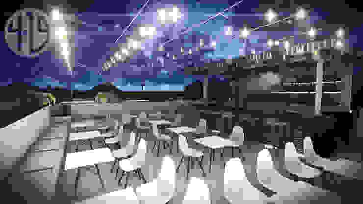 Diseño Arquitectónico – Terraza Bar Balcones y terrazas de estilo moderno de 4.19Arquitectos Moderno Madera Acabado en madera