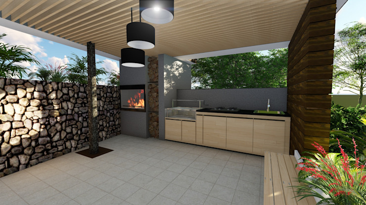 Diseño Arquitectónico – Zona BBQ – Kiosco de 4.19Arquitectos Moderno
