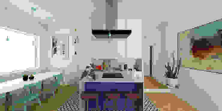 Appartamento 2 - Open space: cucina e sala da pranzo m²ft architects Cucina piccola Marmo Variopinto