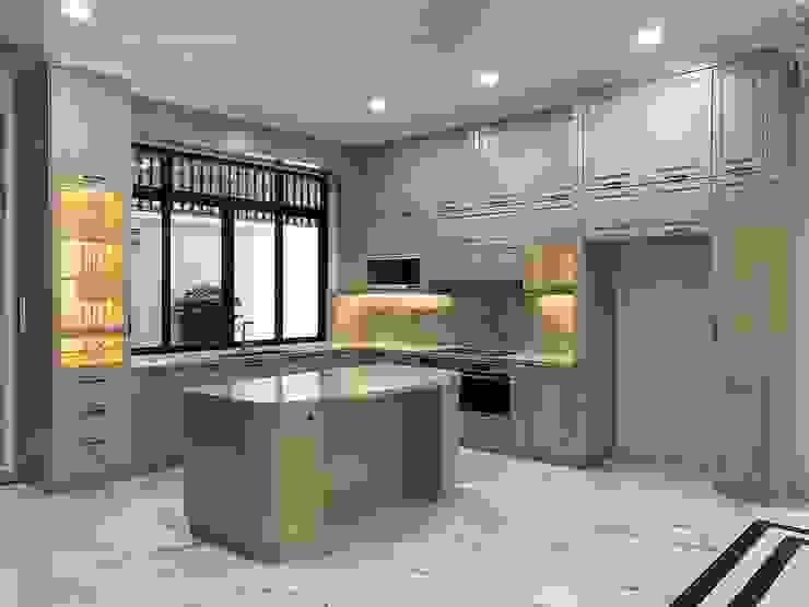 Cận cảnh hệ thống bếp tiện nghi, đẹp và đa chức năng. Nội thất Thành Nam KitchenCabinets & shelves Gỗ Amber/Gold