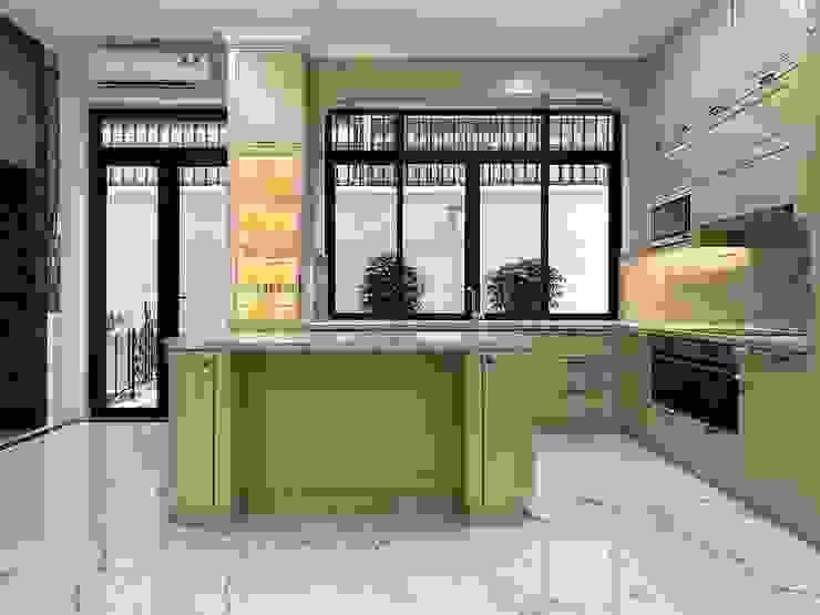 Toàn cảnh nhìn từ phòng khách là bàn đảo bếp. Nội thất Thành Nam KitchenCabinets & shelves Gỗ Amber/Gold
