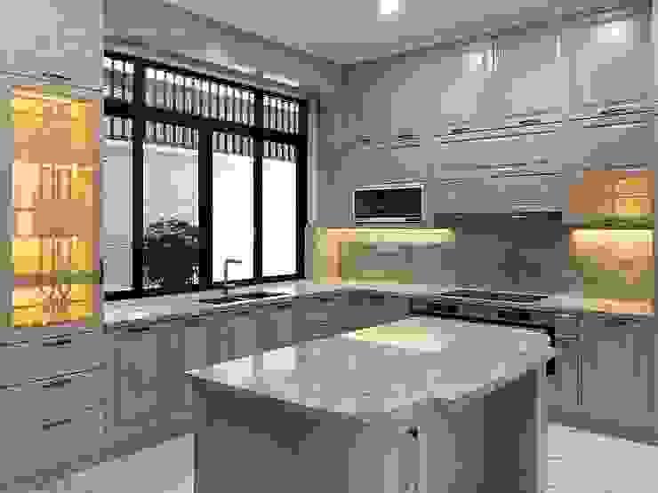 Cận cảnh bàn đảo bếp với đá Nội thất Thành Nam KitchenCabinets & shelves Gỗ Amber/Gold