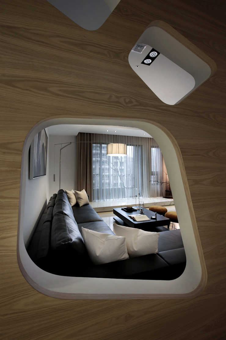 home memory 现代客厅設計點子、靈感 & 圖片 根據 李嵩興建築師事務所 現代風