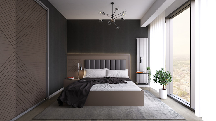 İdea Mimarlık Modern style bedroom Wood Grey