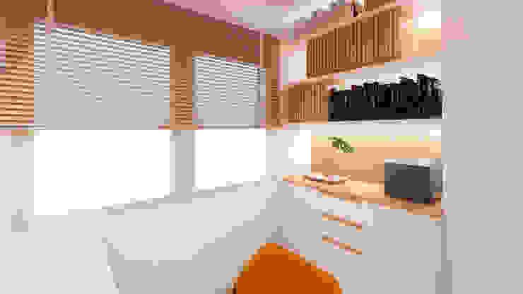 Mirá Arquitetura Oficinas de estilo moderno Madera Blanco