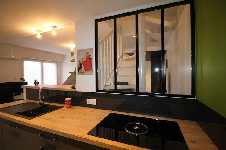 Agence ADI-HOME ห้องครัว อลูมิเนียมและสังกะสี Black