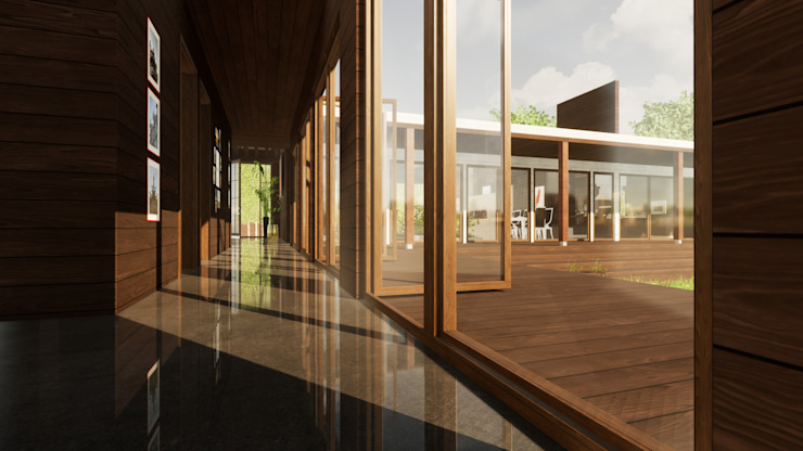 PASILLO DORMITORIOS de LiberonArquitectura Minimalista Madera Acabado en madera