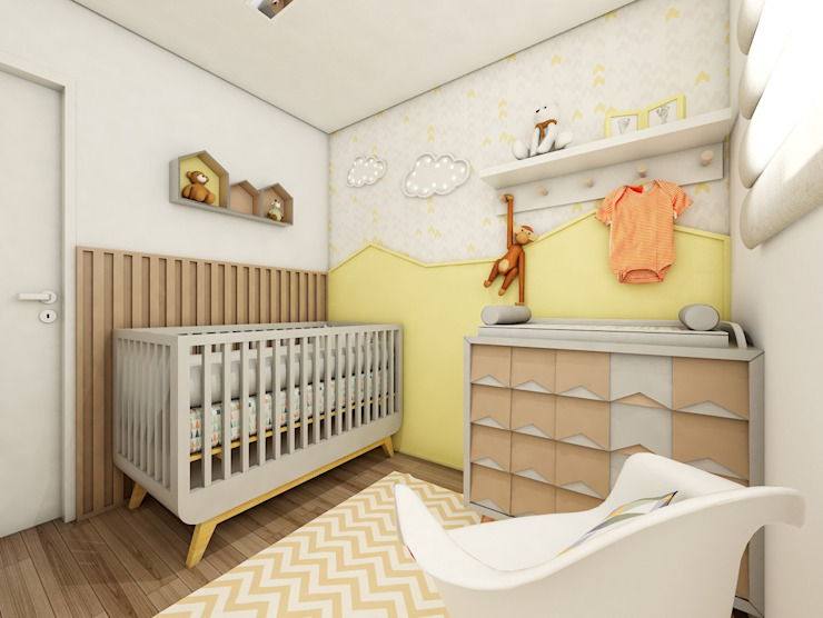 Quarto do futuro bebê Lis Figueiredo Arquitetura e Interiores Quartos de bebê Madeira Amarelo