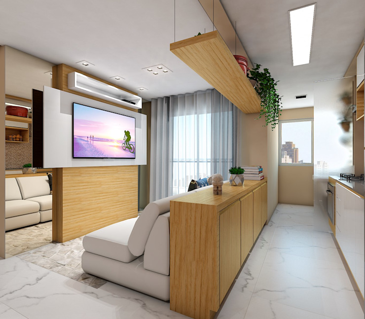 Lis Figueiredo Arquitetura e Interiores Moderne woonkamers MDF Hout