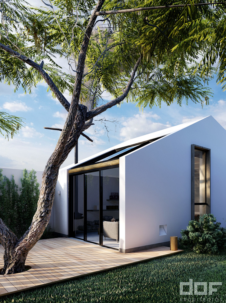 Ingreso Balcones y terrazas minimalistas de DOF Arquitectos Minimalista Concreto