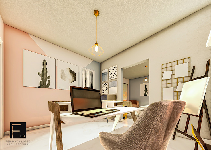 Fernanda López   Arquitectura Modern study/office Pink