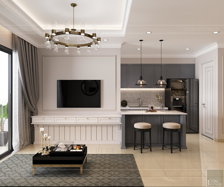 Biến tấu thiết kế nội thất căn hộ Golden Masion đẹp mê ly Thiết kế nội thất ICONINTERIOR Phòng khách