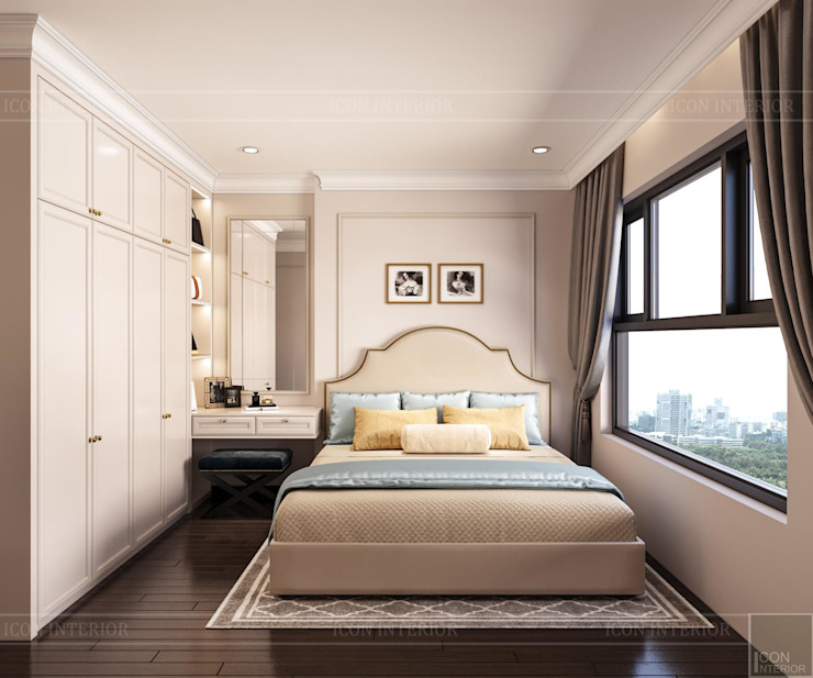 Biến tấu thiết kế nội thất căn hộ Golden Masion đẹp mê ly Thiết kế nội thất ICONINTERIOR Phòng ngủ phong cách hiện đại