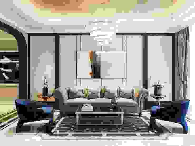 Opal tower – Thiết kế căn hộ Opal Tower giàu xúc cảm trong đường cong quyến rũ Thiết kế nội thất ICONINTERIOR Phòng khách