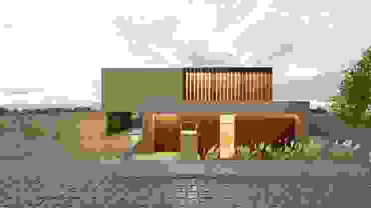 Fachada Frontal de Boom Taller de Arquitectura Moderno Madera Acabado en madera