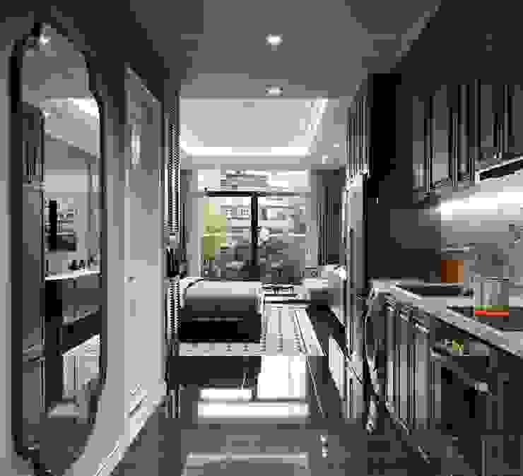 Mẫu thiết kế nội thất căn hộ Studio Masteri Millenium mang âm hưởng Á Đông bởi Thiết kế nội thất ICONINTERIOR Hiện đại
