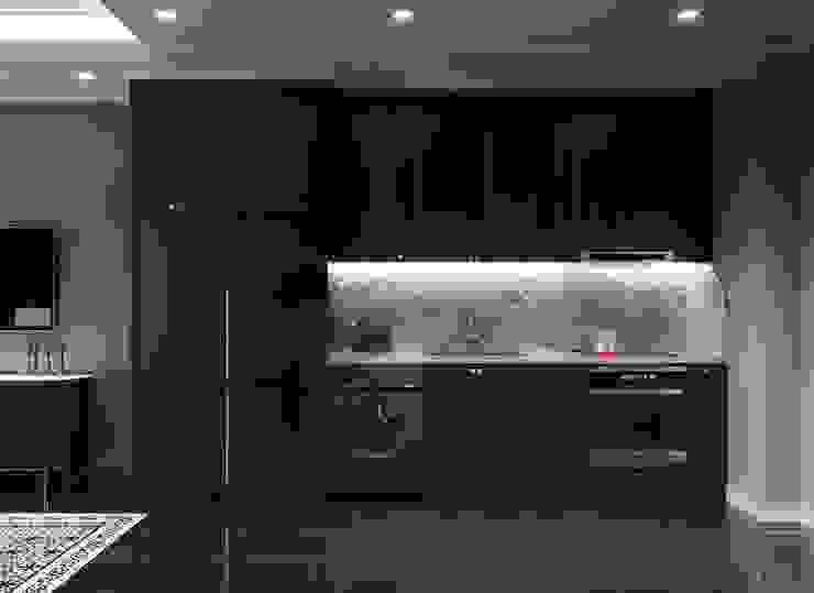 Mẫu thiết kế nội thất căn hộ Studio Masteri Millenium mang âm hưởng Á Đông Nhà bếp phong cách hiện đại bởi Thiết kế nội thất ICONINTERIOR Hiện đại