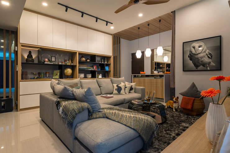 Contemporary Intricacies Scandinavian style living room by Meter Square Pte Ltd Scandinavian Marble