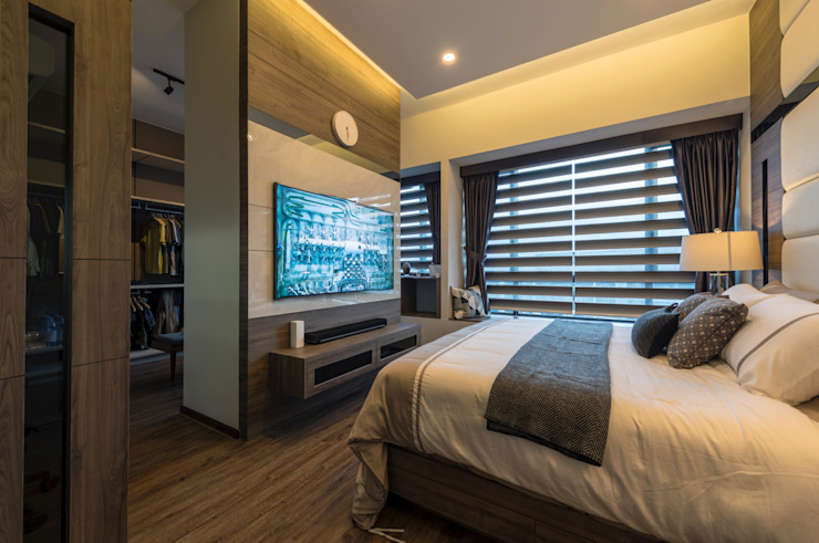 Contemporary Intricacies Scandinavian style bedroom by Meter Square Pte Ltd Scandinavian Solid Wood Multicolored