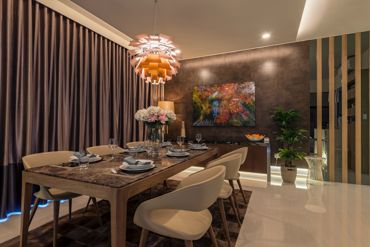 Contemporary Intricacies Scandinavian style dining room by Meter Square Pte Ltd Scandinavian Marble