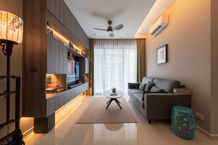 Modern Oriental & Luxury Modern living room by Meter Square Pte Ltd Modern Marble