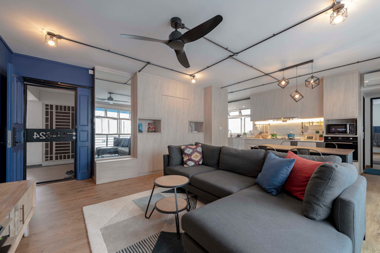 Blue Industrial Chic Industrial style living room by Meter Square Pte Ltd Industrial Wood Wood effect