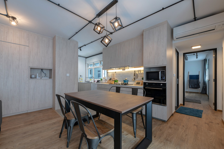 Blue Industrial Chic Industrial style kitchen by Meter Square Pte Ltd Industrial Wood Wood effect