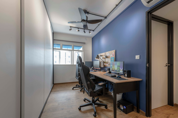 Blue Industrial Chic Industrial style study/office by Meter Square Pte Ltd Industrial Wood Wood effect