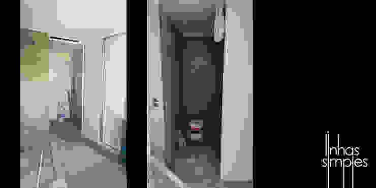 Linhas Simples Rustic style corridor, hallway & stairs