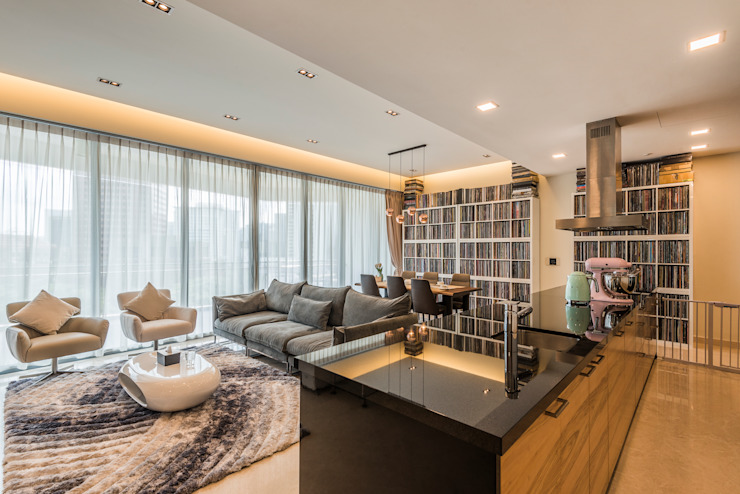 Project : 27 grange road Asian style living room by E modern Interior Design Asian