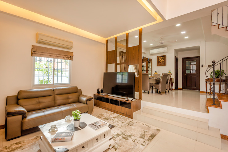 Project : 280 West Wood Ave Asian style living room by E modern Interior Design Asian