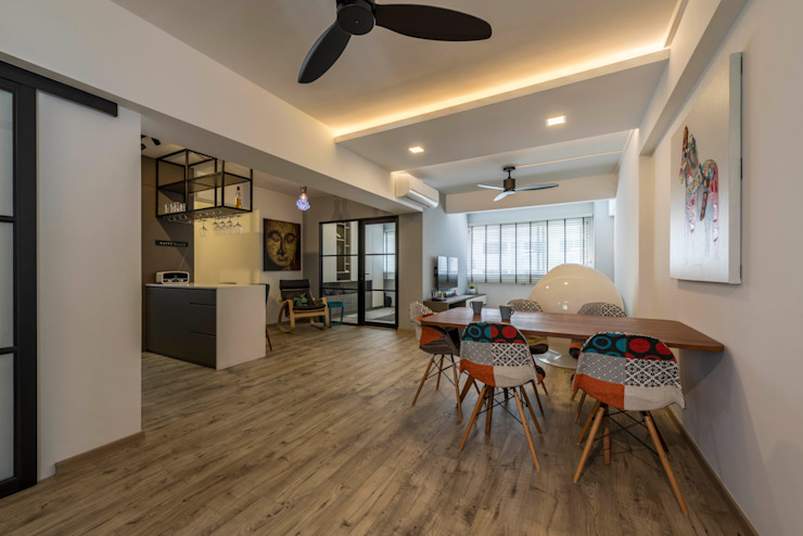 Neutrals Contemporary Modern living room by Meter Square Pte Ltd Modern Wood Wood effect