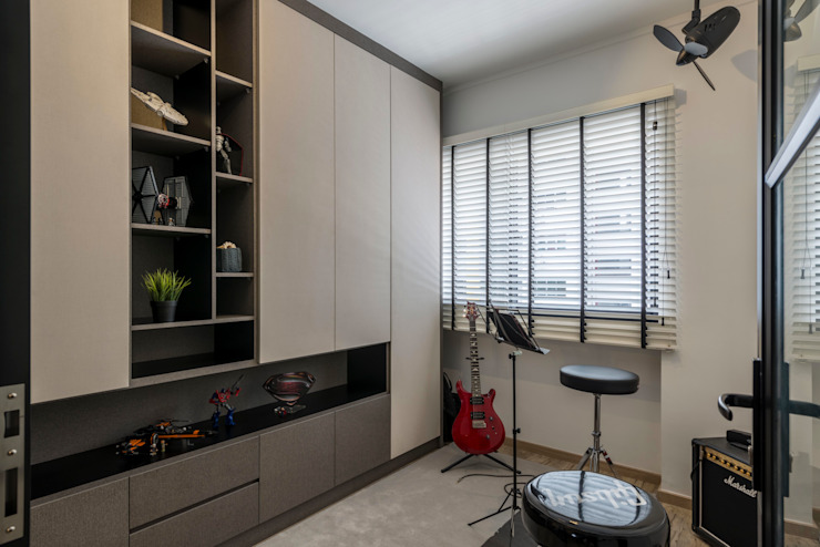Neutrals Contemporary Modern media room by Meter Square Pte Ltd Modern Wood Wood effect