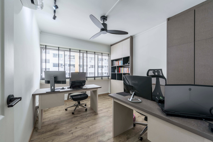 Neutrals Contemporary Modern study/office by Meter Square Pte Ltd Modern Wood Wood effect
