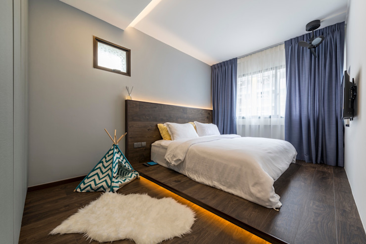Neutrals Contemporary Modern style bedroom by Meter Square Pte Ltd Modern Wood Wood effect