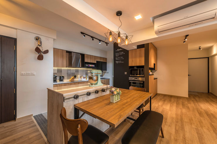 Industrial Touch Meter Square Pte Ltd Industrial style kitchen Wood White