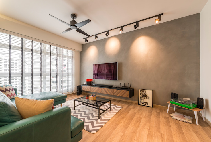 Industrial Touch Meter Square Pte Ltd Industrial style living room Wood White