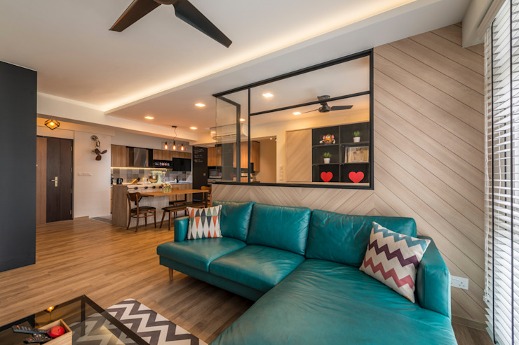 Industrial Touch Industrial style living room by Meter Square Pte Ltd Industrial Wood Wood effect