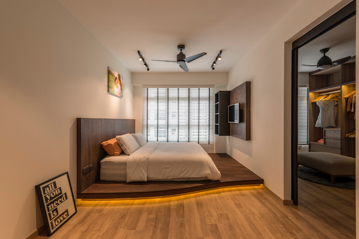 Industrial Touch Meter Square Pte Ltd Industrial style bedroom Wood White
